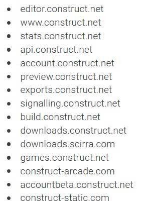 Список доменов для белого листа в Construct 3