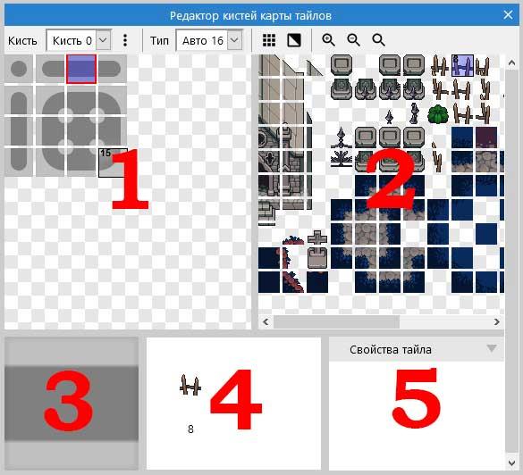 Интерфейс редактора кистей авто-тайлинга карты тайлов в Construct 3